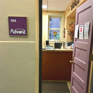 Image of the Advanz Credit Union Downtown branch entrance door